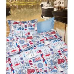 Постельное белье для подростков Lotus Premium B&G - Sailor голубой, , 2