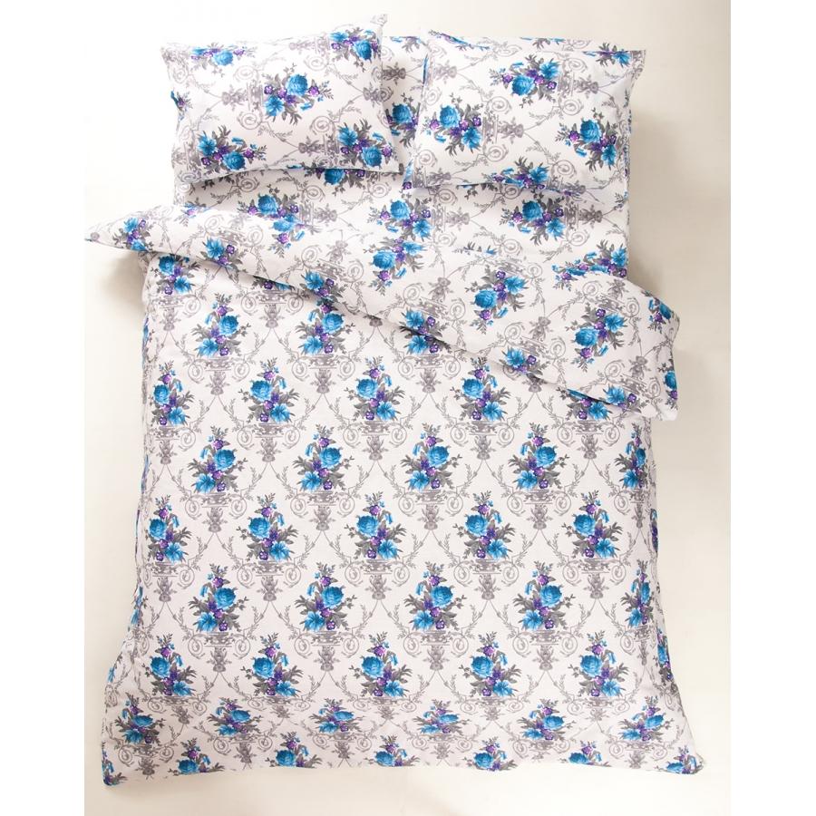Постельное белье Lotus Ranforce - Loise V1 синий семейное