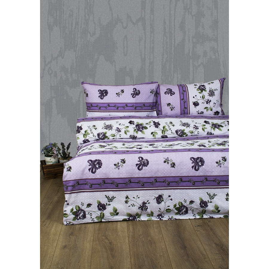 Постельное белье Lotus Ranforce - Delmare лиловый двуспальное