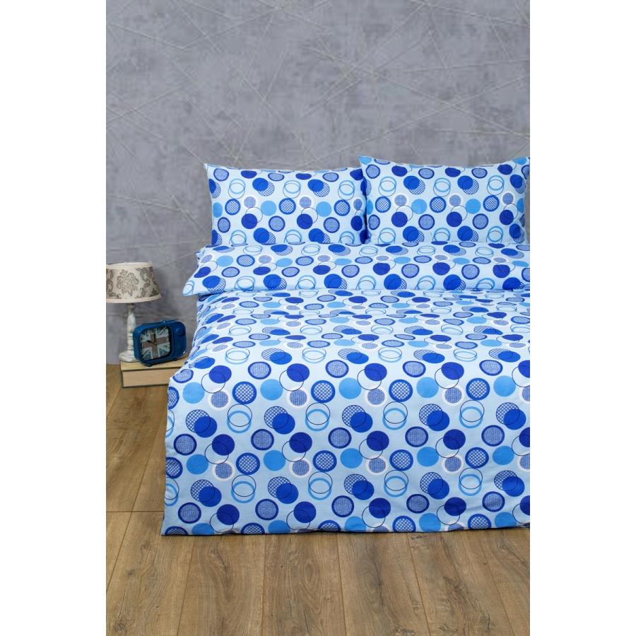 Постельное белье Lotus Ranforce - Erin голубой двуспальное