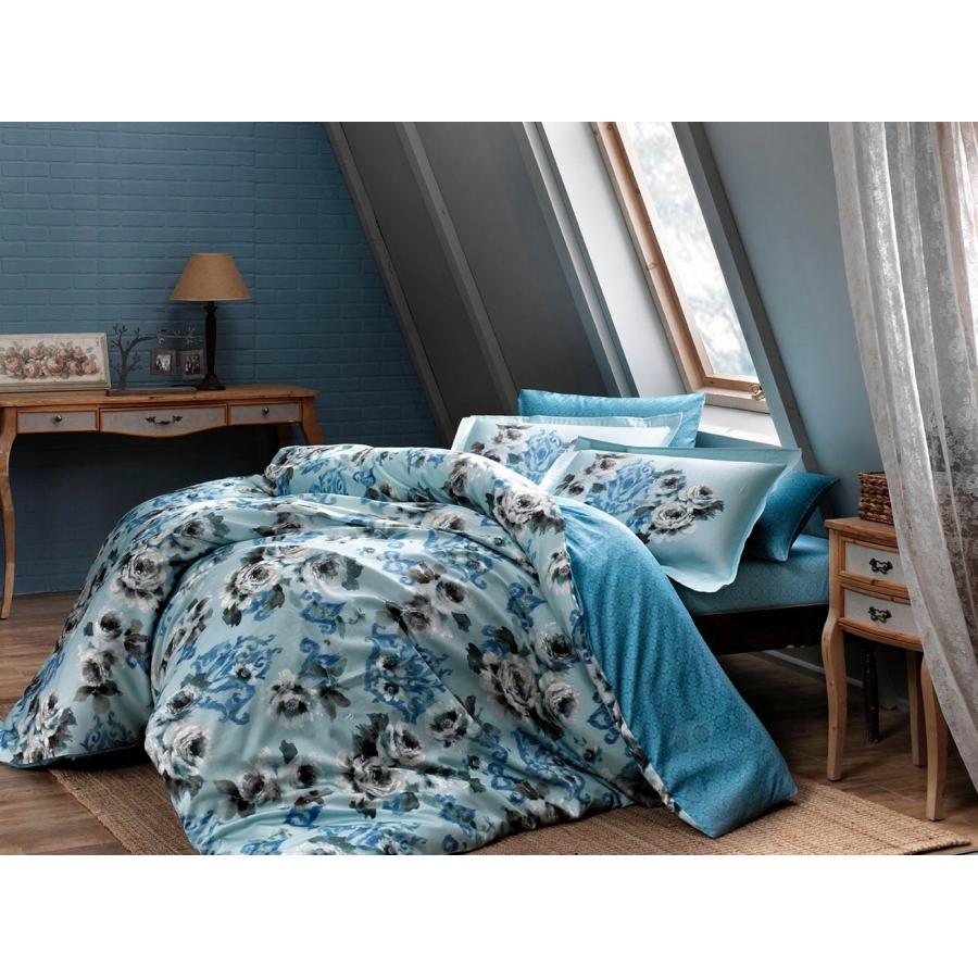 Постельное белье Тас сатин Digital - Barock V1 mavi голубой семейное