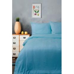 Постельное белье Lotus Отель - Сатин Страйп голубой 1*1 семейный (Турция), , 2