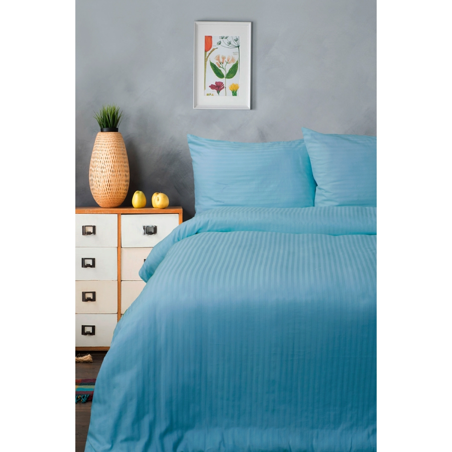 Постельное белье Lotus Отель - Сатин Страйп голубой 1*1 семейный (Турция)