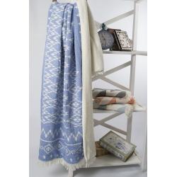 Плед микроплюш Barine - Kilim blue 130*170, , 4