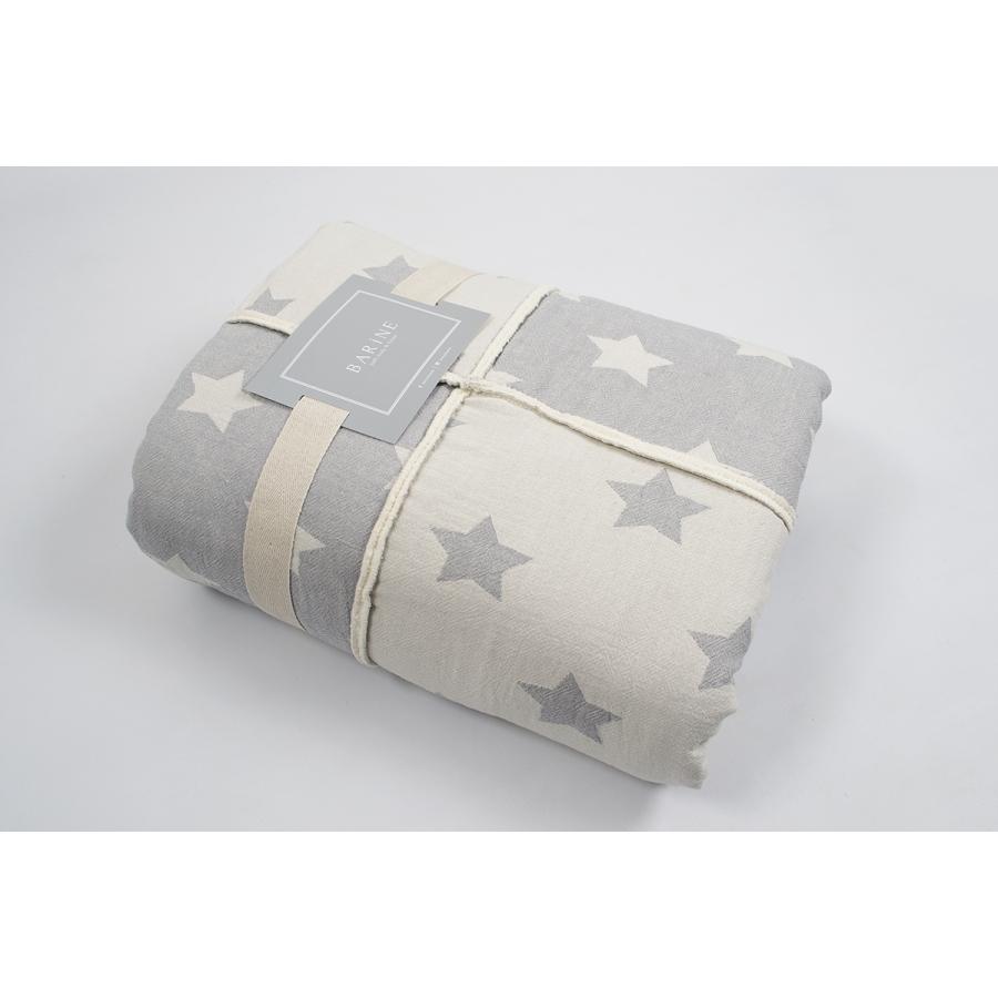 Плед микроплюш Barine - Star Patchwork throw grey серый 130*170