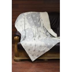 Плед микроплюш Barine - Star Patchwork throw grey серый 130*170, , 4