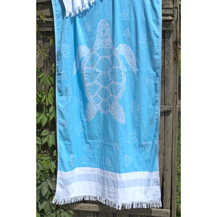 Полотенце Barine Pestemal - Turtle 85*165 Mavi голубой