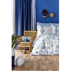 Постельное белье Karaca Home - Felinda mavi голубой пике 220*230 евро, , 2