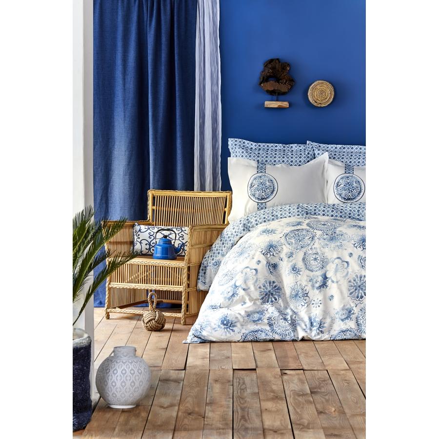 Постельное белье Karaca Home - Felinda mavi голубой пике 220*230 евро