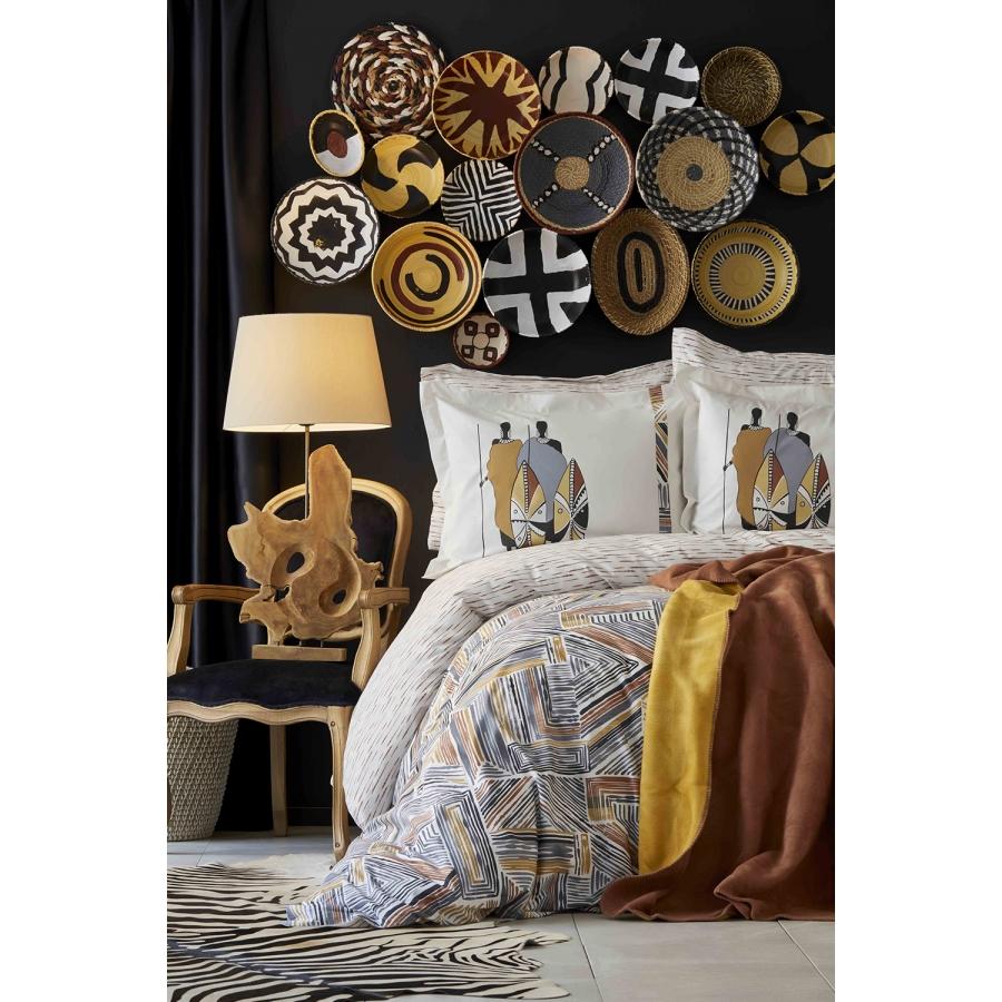 Набор постельное белье с покрывалом Karaca Home - Ruan kiremit кирпичный евро