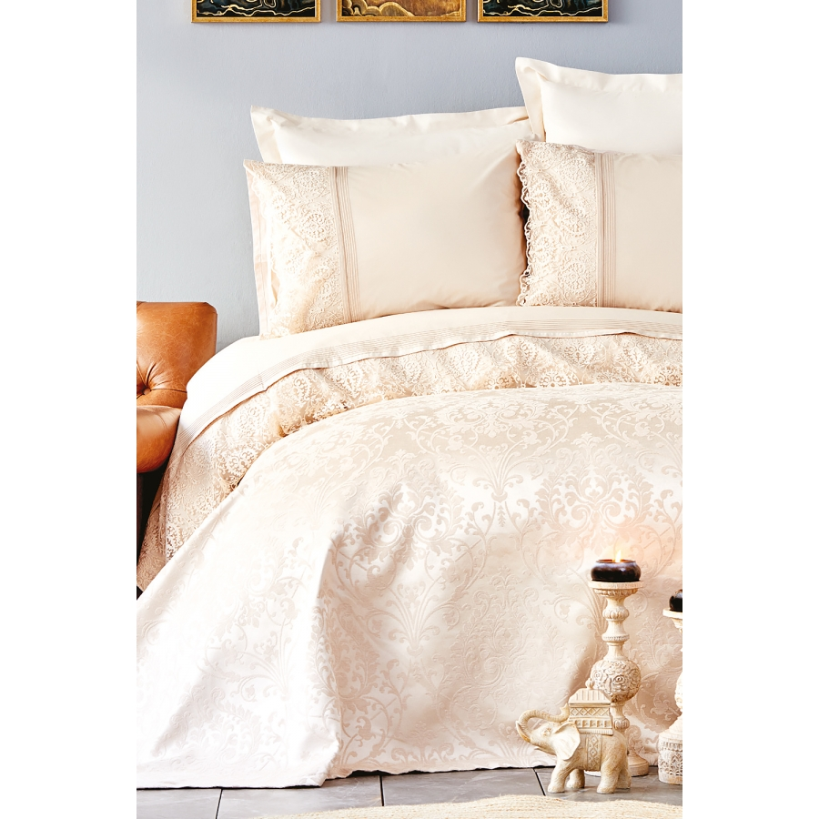 Набор постельное белье с покрывалом пике Karaca Home - Janset bej бежевый евро
