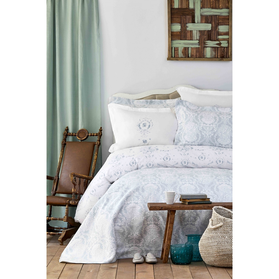 Набор постельное белье с покрывалом Karaca Home - Quatre delux tiffany бирюзовый евро