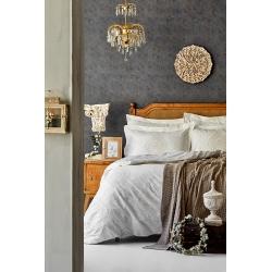 Набор постельное белье с пледом Karaca Home - Desire bej 2020-1 бежевый евро, , 2