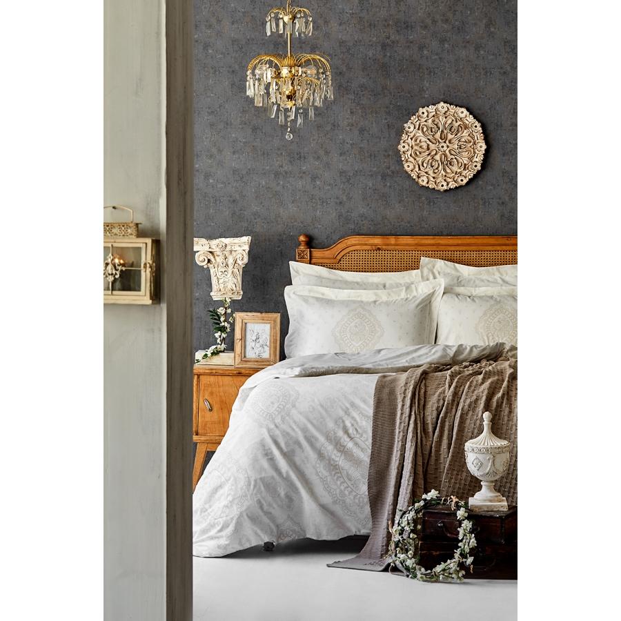 Набор постельное белье с пледом Karaca Home - Desire bej 2020-1 бежевый евро