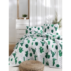 Покрывало стеганное с наволочками Eponj Home - Kaktus yesil зелёный 200*220, , 2