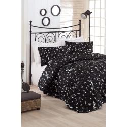 Покрывало стеганное с наволочками Eponj Home B&W - Melodiy siyah черный 200*220, , 2