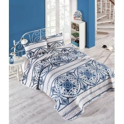 Покрывало стеганное с наволочками Eponj Home - Marble lacivert синий 200*220, , 2