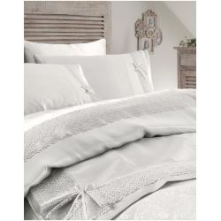 Набор постельное белье с покрывалом пике Karaca Home - Tugce krem кремовый евро, , 2