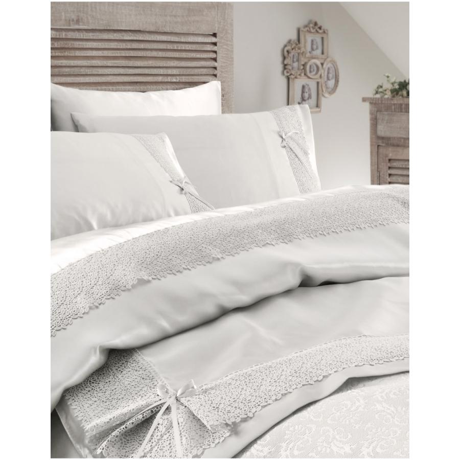 Набор постельное белье с покрывалом пике Karaca Home - Tugce krem кремовый евро