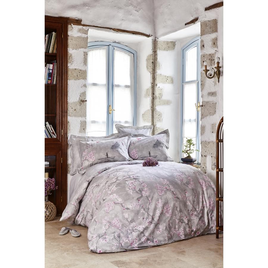 Постельное белье Karaca Home ранфорс - Akina gri серый евро (ПВХ)
