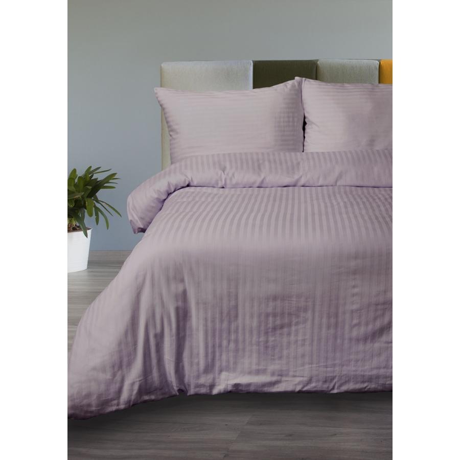 Постельное белье Lotus Отель - Сатин Страйп лиловый 1*1 семейный (Турция)