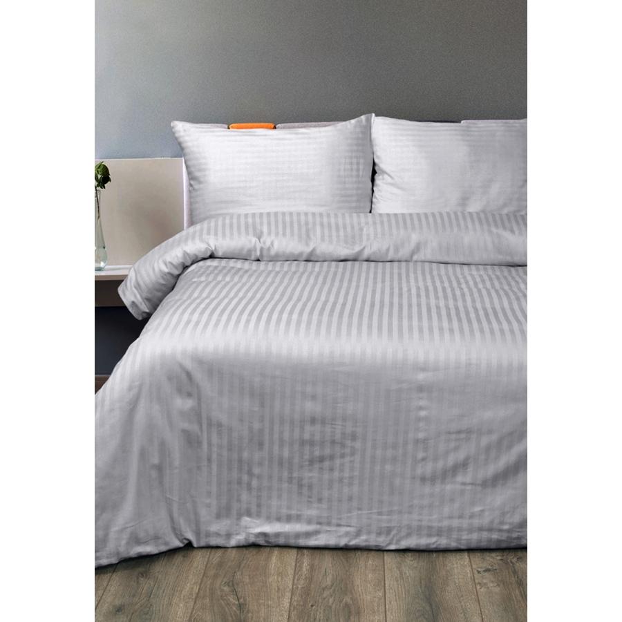 Постельное белье Lotus Отель - Сатин Страйп серый 1*1 евро (Турция)