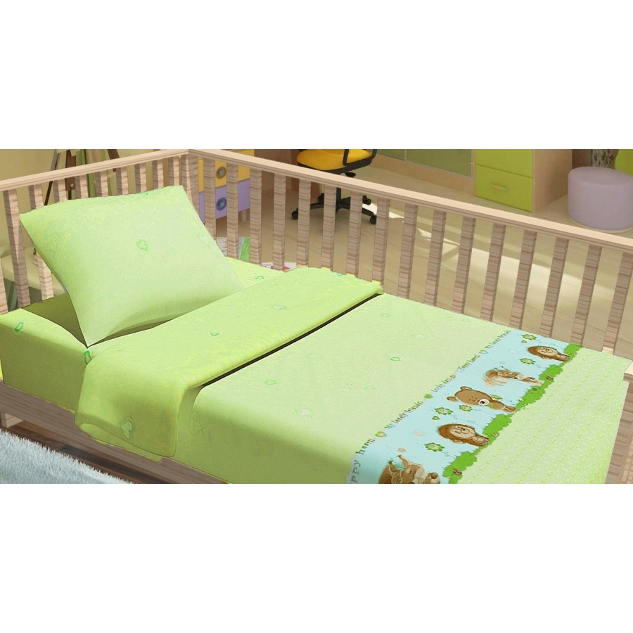 Постельное белье для младенцев Kidsdreams - Лесные зверята зеленое