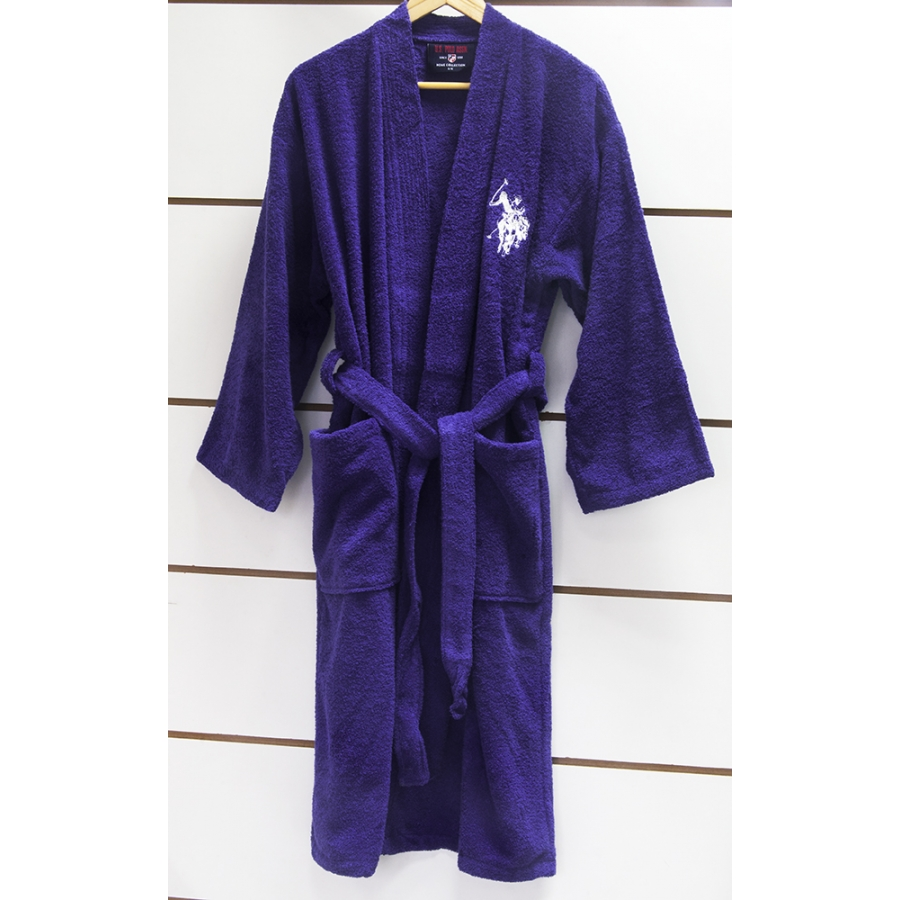 Халат детский махровый U.S.Polo Assn - USPA mor-lacivert фиолетово-синий 9/10 лет